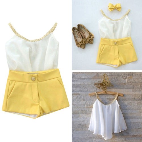 2019 Kids Suits Baby Girl's Clothes Summer Style Sets Sleeveless Sling Chiffon Vest + Shorts