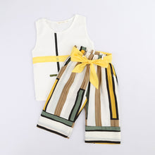 Load image into Gallery viewer, Baby Girls Outfits Clothes O-neck Sleeveless Vest Tops+Bowknot Stripe Pants Set