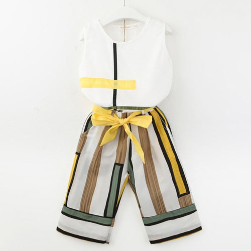 Baby Girls Outfits Clothes O-neck Sleeveless Vest Tops+Bowknot Stripe Pants Set