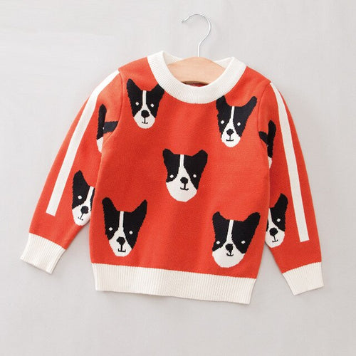 Winter Cotton Boys Sweater Top Kids Cardigan Puppy Cartoon Baby Sweaters Soft Sweater Coats
