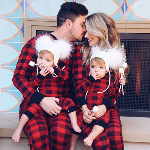 Plaid Romper Parent-child Nightwear