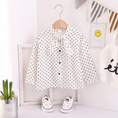 children's long sleeve white blouse girl long shirt baby girl polka dot blouse collar shirt
