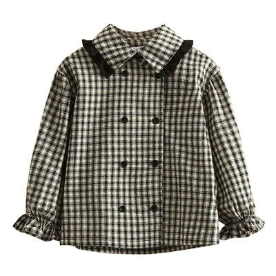 Girls Blouses Casual Plaid Long Sleeve Shirts for Girls Double-breasted Girls Blouses