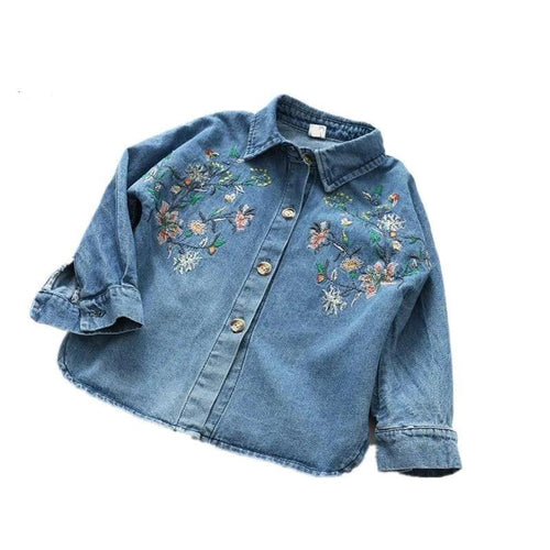 New Spring Baby Girl Blouses Jean Embroidery Flower Full Sleeve Girl Shirt Denim