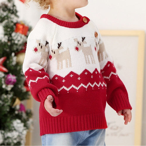 Christmas Sweater Winter Thick Knitted Baby Sweater Tops