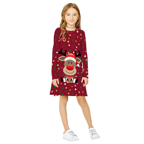 christmas reindeer dress Girl Long Sleeve 3D Print Cartoon Christmas Xmas Dress
