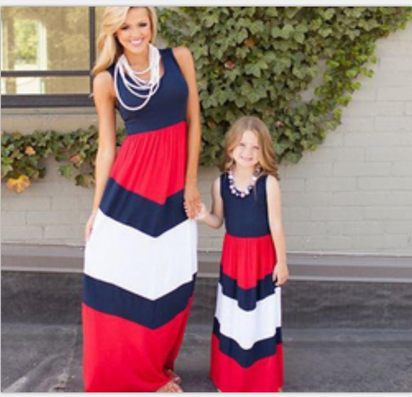 Parent-child family matching dresses outfits