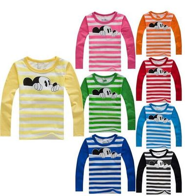100% Cotton T-Shirt Long Sleeve Spring Mouse Cartoon T shirts for