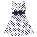 Dotted bow 100% cotton party dress