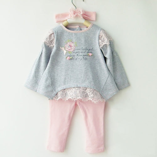 Girl Dresses Baby Sets Clothing Girl's Lace Patchwork Three-in-one Set Long Sleeve Suit