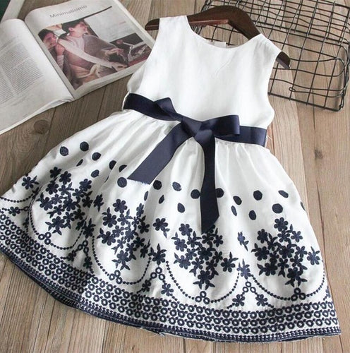 Girls Embroidered dot Sleeveless Dress
