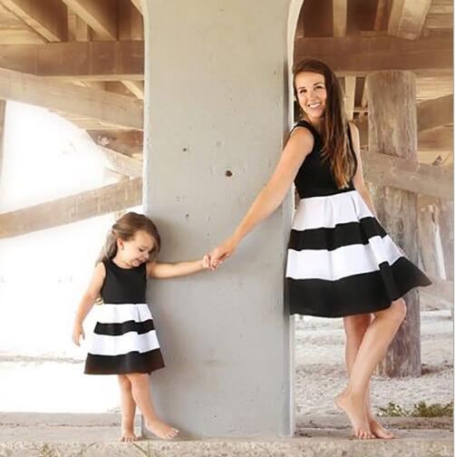 Parent-child matching striped dresses