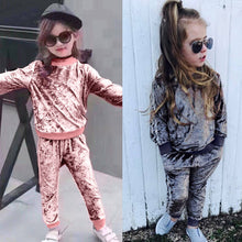 Load image into Gallery viewer, children's clothing girl Long Sleeve o-neck Tops+Pants  kid autumn winter suit