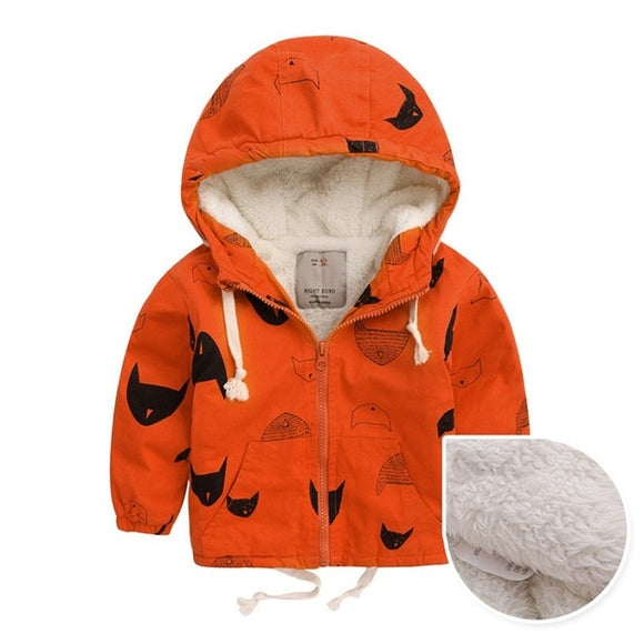DRESSINGLIKE Winter Fleece Jackets For Boy Trench Children's Clothing coat