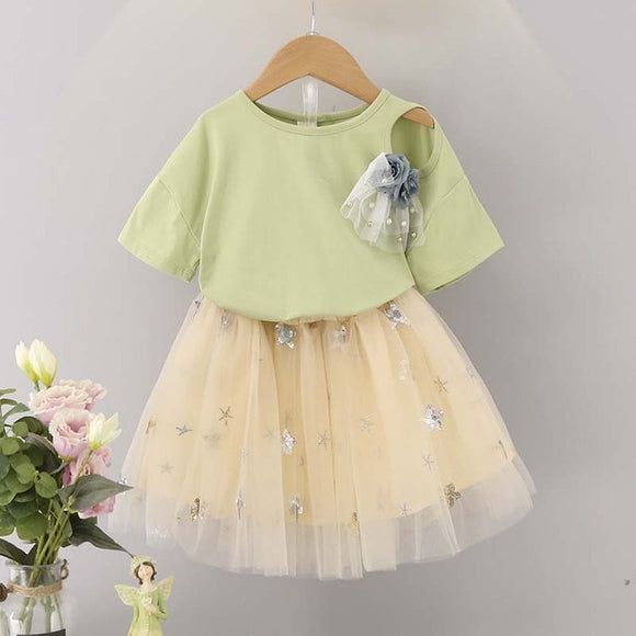 2019Humor Bear Baby Girls Clothes Kids Set Fashion Bow Short Sleeve coat