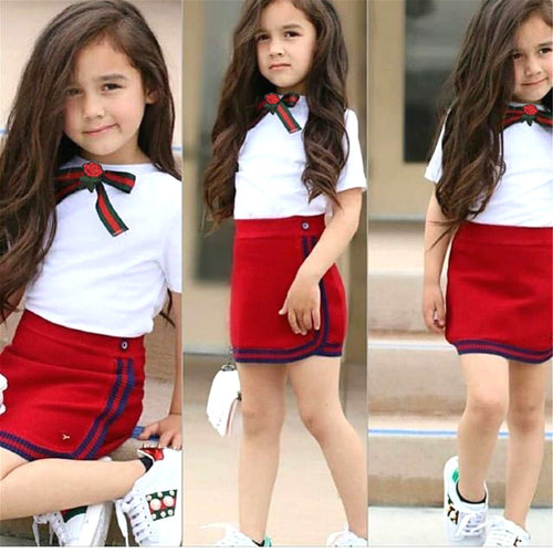 Girls Uniform Newborn Kid Girls Clothes Sets Bow Flower Tie
