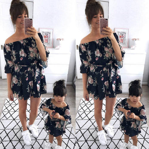 Parent-child Off Shoulder Summer Outfits
