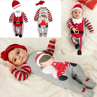 Babies Kid Cute Christmas Romper+hat/headband Outfits Kids Clothes