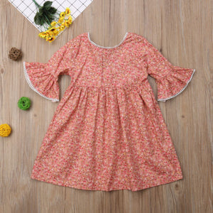 Cute Toddler Kid Baby Girl Long Sleeve Floral Princess Boho Pageant Dress