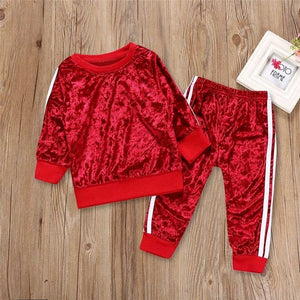 children's clothing girl Long Sleeve o-neck Tops+Pants  kid autumn winter suit