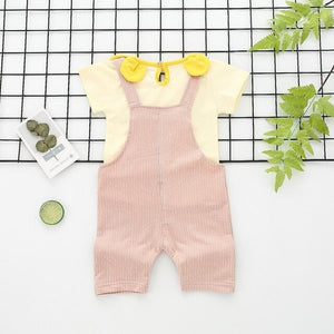 Children Fashion Sets Baby Girls Toddler's  Short Sleeve + Bib Pants Two-Piece Set