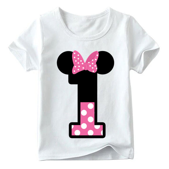 Baby Boys/Girls Happy Birthday Letter Bow Cute Print Clothes Children T-shirt