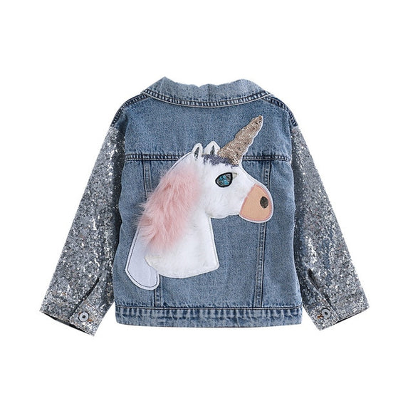DRESSINGLIKE Unicorn Denim Jacket for Girls Coats Children Clothing Autumn Baby