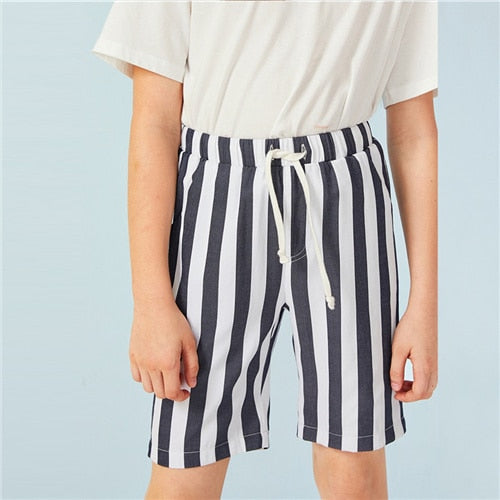 Navy Striped Drawstring Waist Casual Shorts