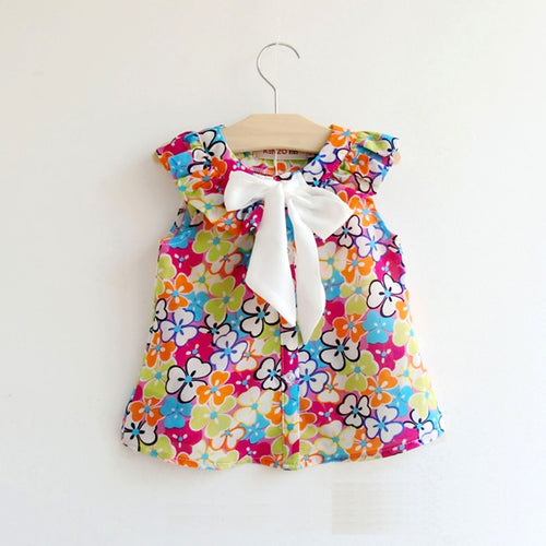 Summer Style Girls Blouses Floral Sleeveless Bow Princess Shirt