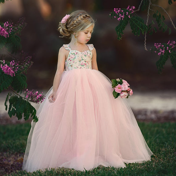 2019 Summer Kid Baby Girls Floral Long Tutu Dress Wedding Party