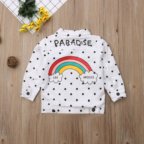 Toddler Kids Baby Girls Polka Dot Rainbow Print Cotton Long Sleeve Tops Outerwear Coat Jacket Clothes