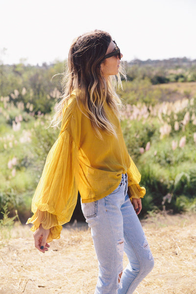 Lace Detail Sleeve Blouse- Mustard