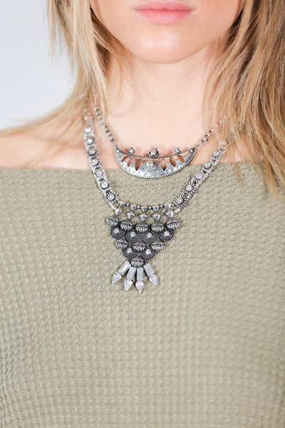 Chunky Pewter Statement Necklace
