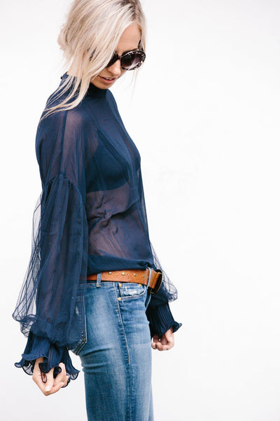 Lace Detail Sleeve Blouse-Navy