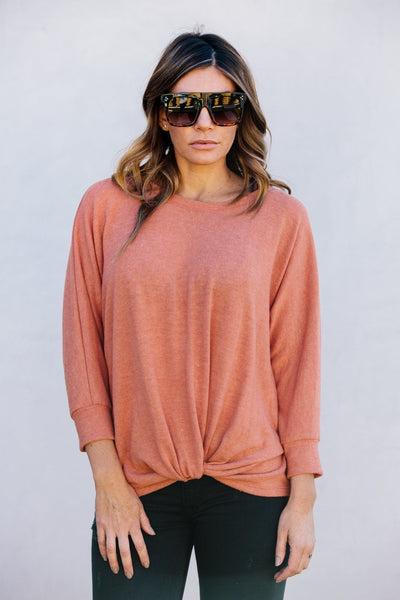 Kelly Fleece Sweater- Peach