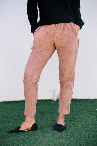 Suede Joggers- Dusty Rose