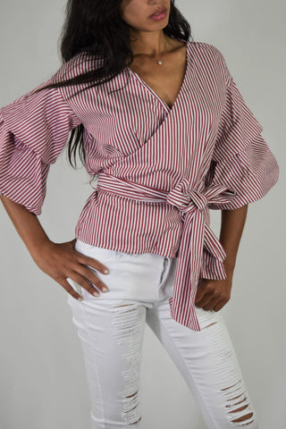 Red Striped puff sleeve top