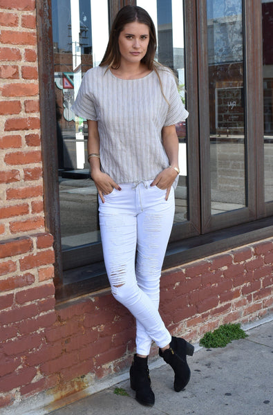 Linen Short Sleeve Top