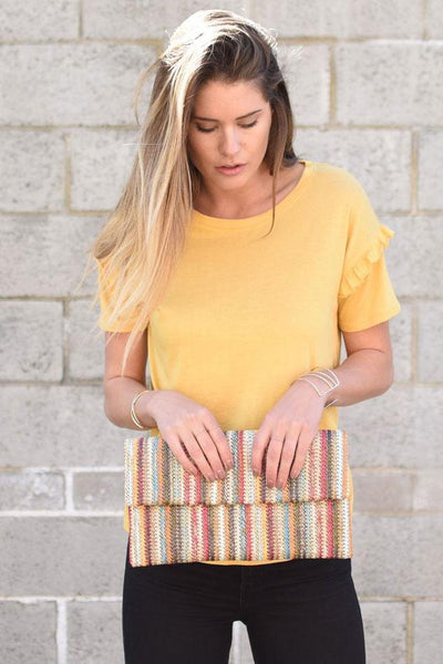 Multicolored Stripe Clutch