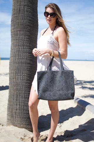 Moroccan Slouchy Tote- Black