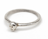 Tiny Silver Skull on Thin Silver Ring