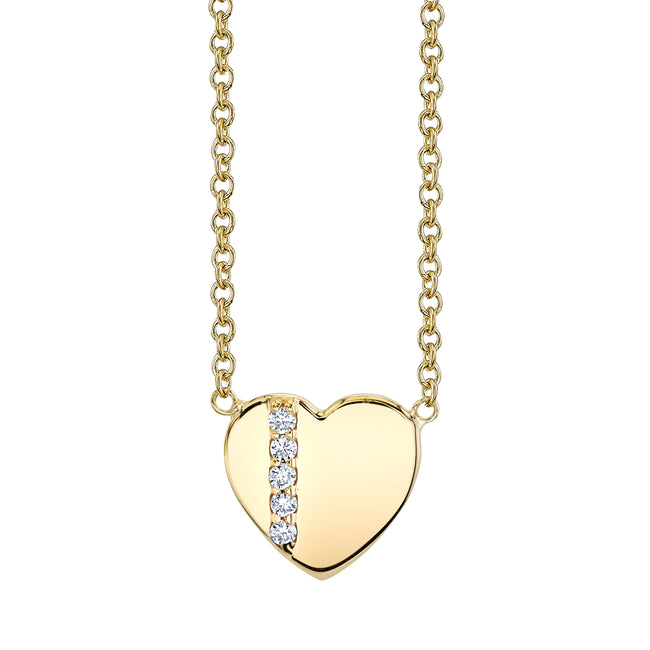 One Stripe Diamond Heart Pendant