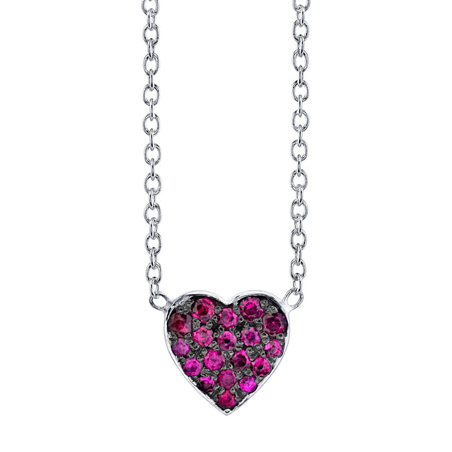 Ruby Heart Black Rhodium Pendant