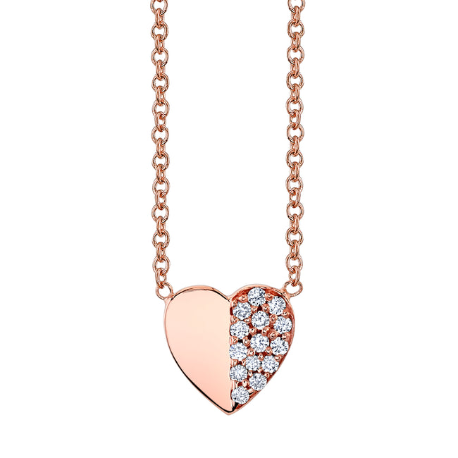 Half Pave Diamond Heart - Left