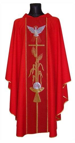 Red Holy Spirit Chasuble with matching stole