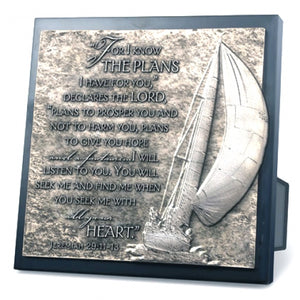 Moments Of Faith Sculpture Plaque Series-Sailboat Journey-8.75In X 8.75In