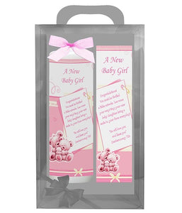 Inspirational Candle with Bookmarker - A New Baby Girl - Deut 7:13