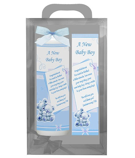 Inspirational Candle with Bookmarker - A New Baby Boy - Deut 7:13