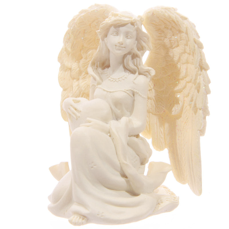 Cream Kneeling Angel Figurine 8cm