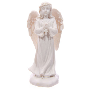 White Standing Angel Figurine - Cross